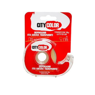 DISPENSADOR COM ROLO FITA ADESIVA 15MMX33M 38µ TRANSPARENTE CITYCOLOR CITY15100