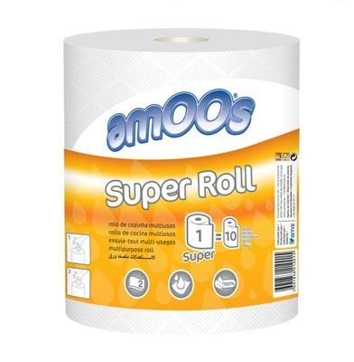 PAPEL MULTIUSOS FOLHA DUPLA PACK C/06ROLOS AMOOS SUPER ROLL 1=10 Ø190MM/S280